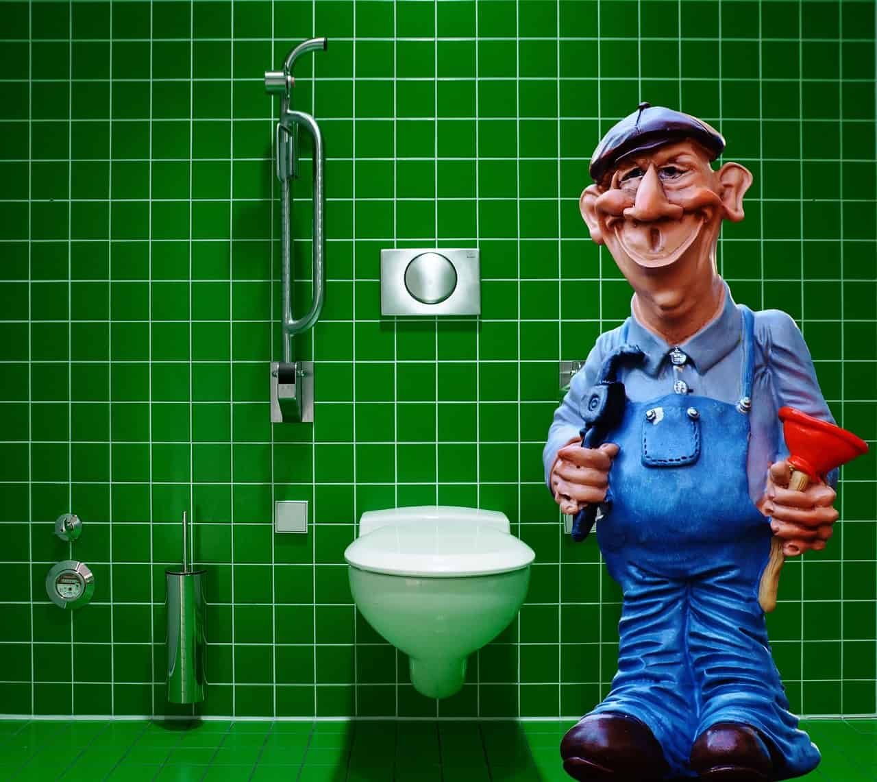 showing a doll of a plumber in a toilet on visit at a privat residence with shower or a handicap toilet