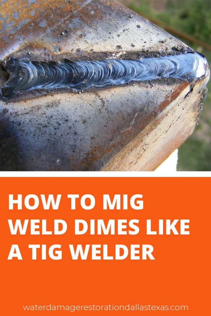 image is showing a welder who has welded a dime bead