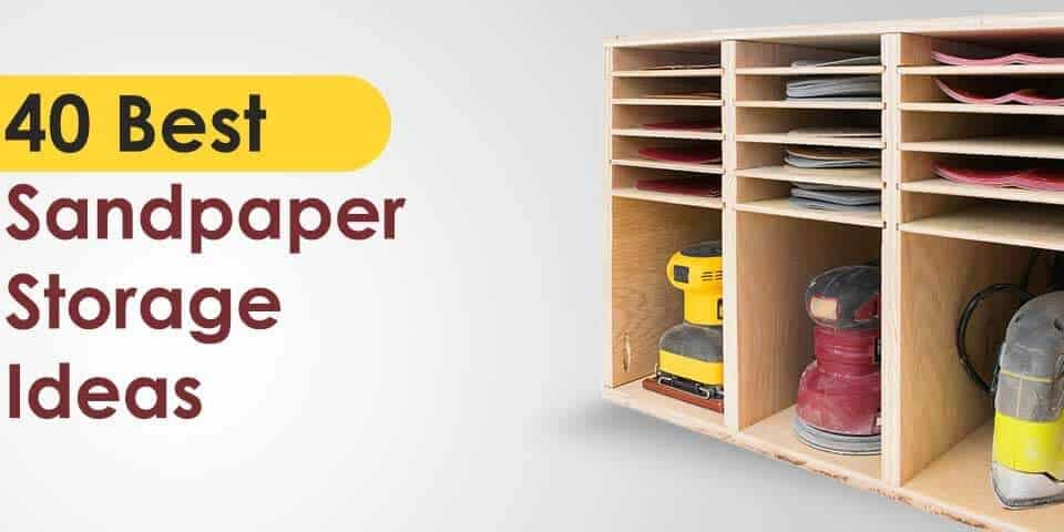 collection of different sandpaper storage ideas for fabrication shop